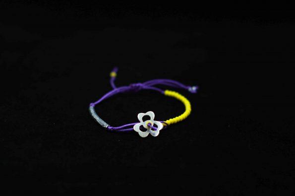 دستبند گل نقره A1004