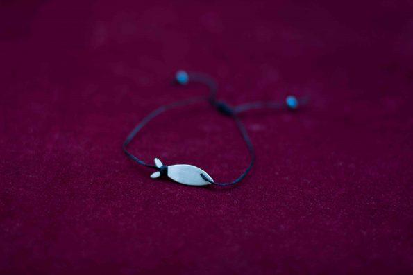 دستبند نقره پلاک ماهی برشی A1006