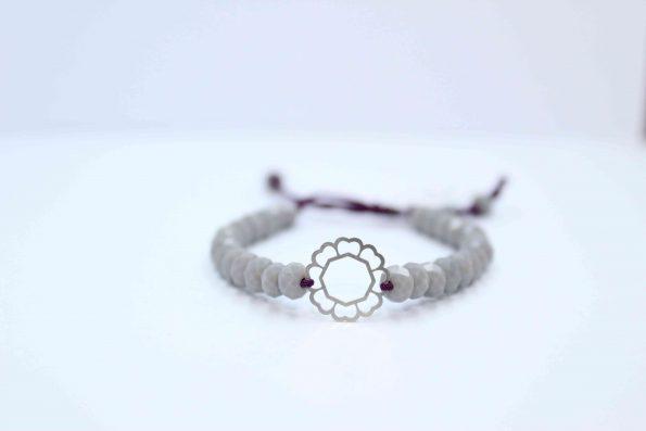 دستبند نقره کد A130 بند با سنگ