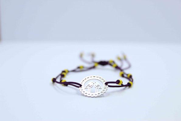 دستبند نقره کد A215 بند با سنگ