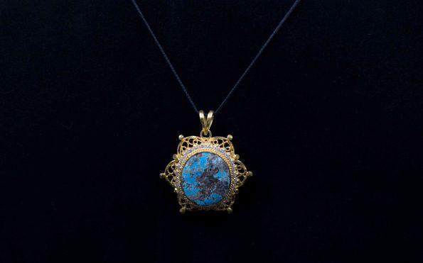 مدال فیروزه جواهر و ملیله دست ساز M1007