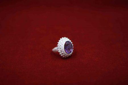 انگشتر طرح جواهر ۲طبقه آماتیس R1002