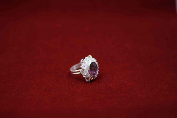 انگشتر طرح جواهر ملیله آماتیس دست ساز R1004