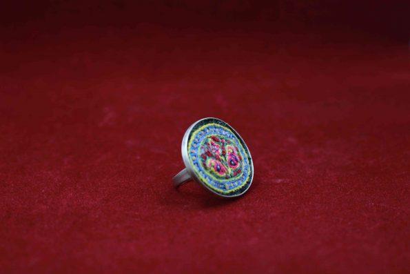 انگشتر گرد نقره با پته R1502