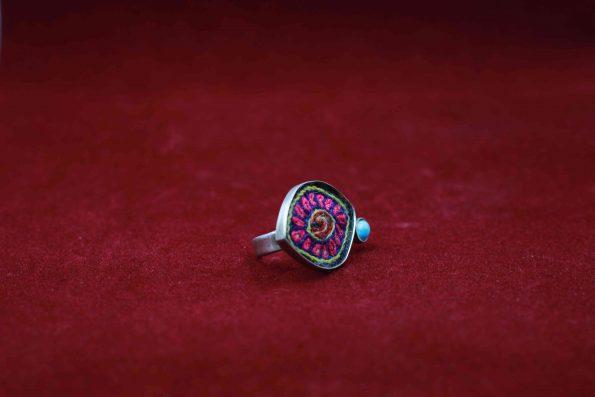 انگشتر نقره پته با نگین فیروزه نیشابور R1503